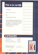 Sold Secure Certificate - DIB-130 D-Lock