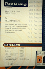 Sold Secure Certificate - Protector 22mm Titan Chain