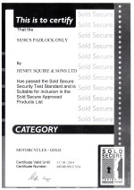 Sold Secure Certificate - Squire SS50CS Lock