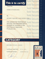 Sold Secure Certificate - Squire SS80CS Lock