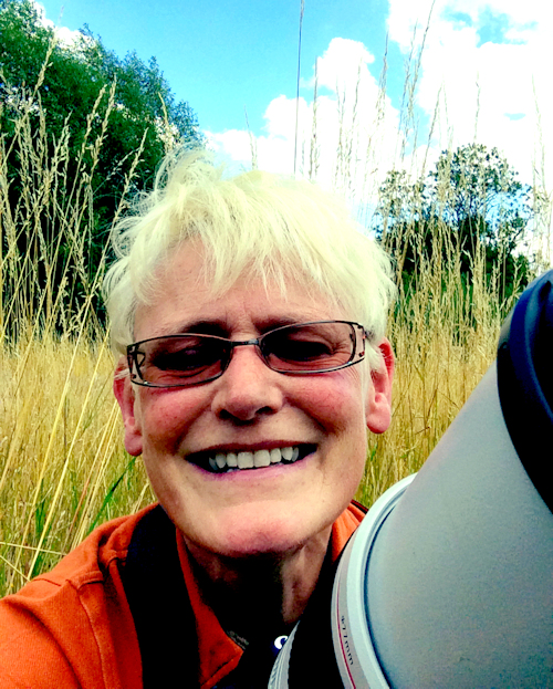 Sarah, very happpy with her camera at our Alvecote Wood conservation site